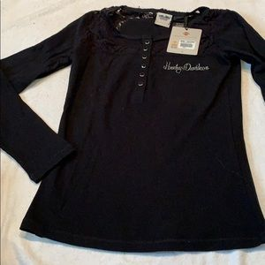 NWT HARLEY DAVIDSON THERMAL BLK LACE TRIM TOP SZ S